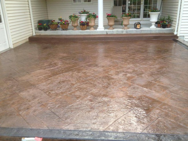 colored stamped patio
